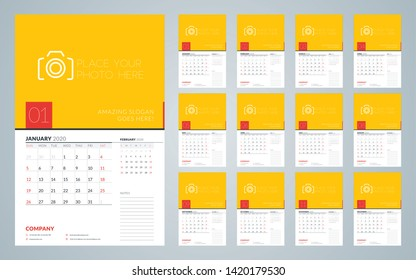 Wall calendar template for 2020 year. Week starts on Sunday. Vector illustration