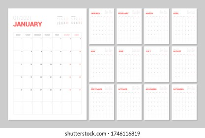 Wall calendar template for 2021 year. Planner diary in a minimalist style. Week Starts on Monday. Monthly calendar ready for print.