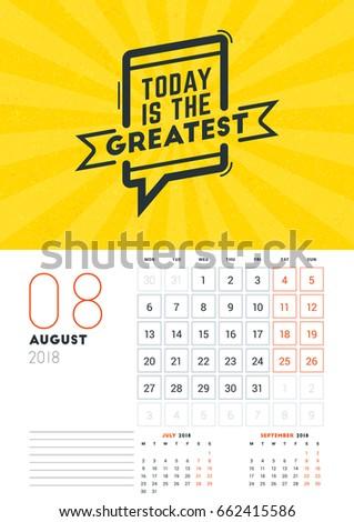 Wall Calendar Template August 2018 Vector Stock Vector Royalty Free