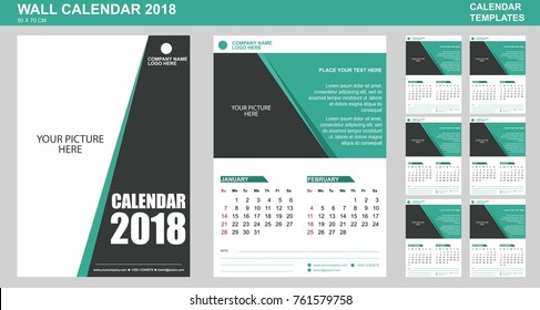 Wall calendar vector template for 2018 with place for your picture and text every page. 2 Months per page