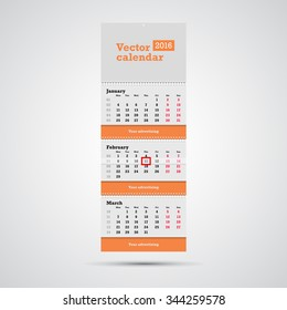 Wall calendar vector template. Vertical calendar template with three month sections and advertising placeholders with springs and day marker isolated on white background.