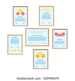 Wall of certificates icon in cartoon style isolated on white background. Office furniture and interior symbol stock vector illustration.
