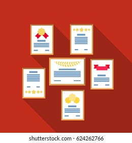 Wall of certificates icon in flat style isolated on white background. Office furniture and interior symbol stock vector illustration.