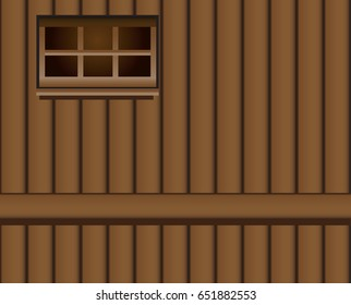The wall of a classic wooden shed with a narrow window.