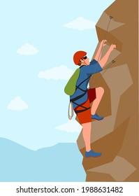 Wall climbers. Mountain rock climber. Man healthy active lifestyle activities garish vector illustration