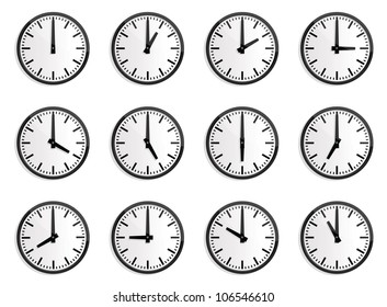 wall clock for every hours, to indicate world international time zone.