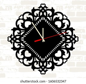 Wall clock filigree template. Digital cut home decor with hearts. Laser metal wood cutting. Lace stencil. Simple square clock face. Vector watch. Silhouette dial