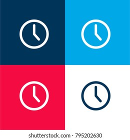 Wall clock four color material and minimal icon logo set in red and blue