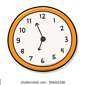 Wall Clock. A hand drawn vector illustration of a wall clock.
