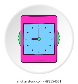 Wall clock icon in cartoon style on white circle background. Time symbol vector illustration
