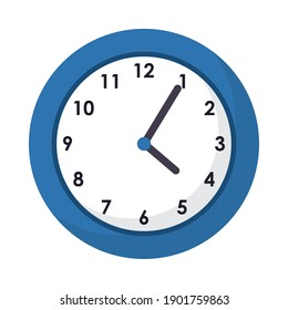 wall clock icon over white background, flat style, vector illustration