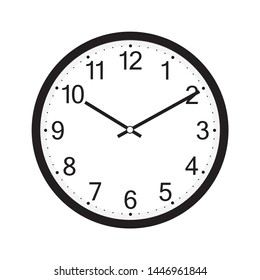 wall clock isolated on the white background vector design. Illustration EPS10. Classic round wall clock isolated on white background. clock icon, flat design best vector clock illustration.