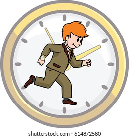 wall clock and running businessman
