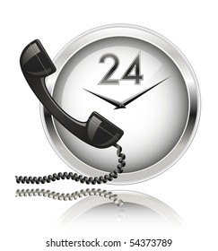 Wall clock and telephone receiver. Round the Clock Support or 24x7 Support.