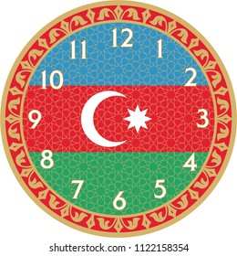 "Wall Clock is a vector work. This theme ""Azerbaijan flag"" and was prepared. You can print in any size you want. You can remove the time digits and use them as a table."