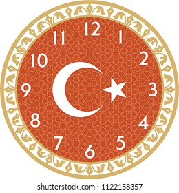 "Wall Clock is a vector work. This theme ""Turkey Flag"" and was prepared. You can print in any size you want. You can remove the time digits and use them as a table."