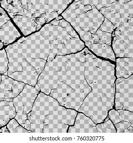 Wall cracks isolated on transparent background. Fracture surface ground, cleft broken collapse illustration.