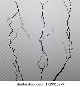Wall cracks on transparent checkered background. Vector illustration.