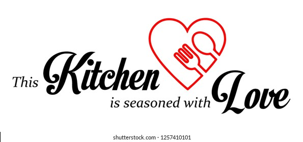 Wall decal to decorate home and kitchen. Sticker concept for kitchen with slogan. Vector silhouettes.