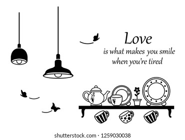 Wall decal to decorate home and kitchen. Sticker concept with kitchen ware and slogan. Vector silhouettes.