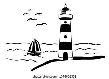 wall decal lighthouse shine light sea maritime boat ship sailboat