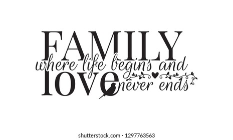 Wall Decals, Family where life begins, and love never ends, Bird Silhouette and Branch with hearts, Wording, Lettering Design, Art Decor, isolated on white background