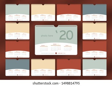 Wall or Desk Monthly Calendar for Year 2020. Vector Template in trend color with three month at page and Space for Photo and Corporate elements. Landscape Orientation. Week starts monday