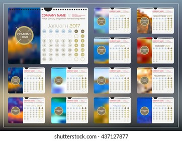 Wall or Desktop Monthly Calendar for Year 2017. Vector Design Template with Space for Photo and Corporate elements. Landscape Orientation. Set of 12 Months. Week starts monday.
