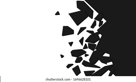 Wall explosion fragment. Abstract explosion background. Black and white vector illustration.