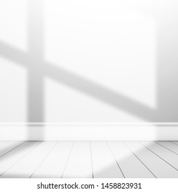 Wall and floor illuminated by sunlight from the window. Blank white background for design