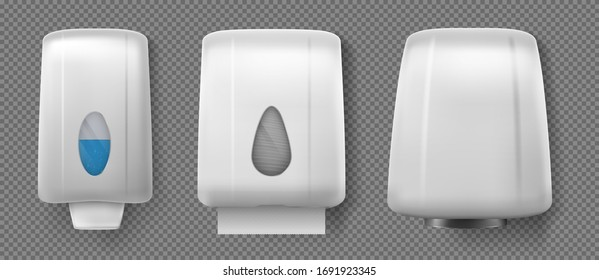 Wall hand dryer, dispensers with soap and paper towel. Vector realistic container with antibacterial liquid gel or alcohol sanitizer, box with napkins and hand drier isolated on transparent background