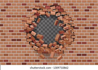 Wall hole destruction red brick break transparent template background vector illustration