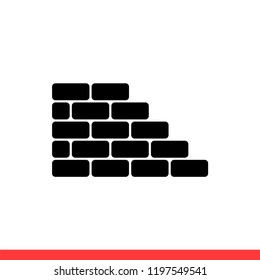 Wall icon vector, brick symbol. Simple, flat design for web or mobile app