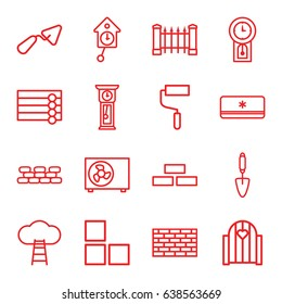 Wall icons set. set of 16 wall outline icons such as fence, trowel, roller, air conditioner, pendulum, ladder to the sky