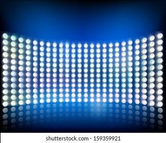 Wall of lights. Vector illustration.