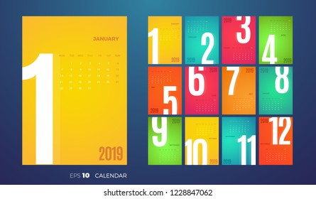 Wall Monthly 2019 Calendar. Vector template with different color pages.