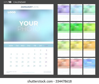 Wall Monthly Calendar 2016 with Place for Photo. Vector Template