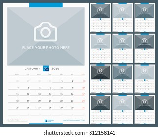 Wall Monthly Calendar for 2016 Year. Vector Design Print Template with Place for Photo. Week Starts Monday. Portrait Orientation. Set of 12 Months