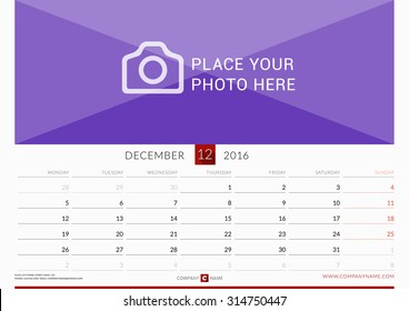 wall monthly calendar for 2016 year vector design print template week starts monday
