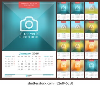 Wall Monthly Calendar for 2016 Year. Vector Design Print Template with Place for Photo. Week Starts Monday. 3 Months on Page. Set of 12 Months