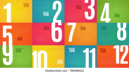 Wall Monthly Calendar for the year 2018. Vector eps10 template