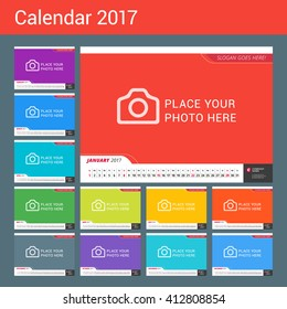 Wall Monthly Line Calendar for 2017 Year. Vector Design Print Template with Place for Photo. Landscape Orientation