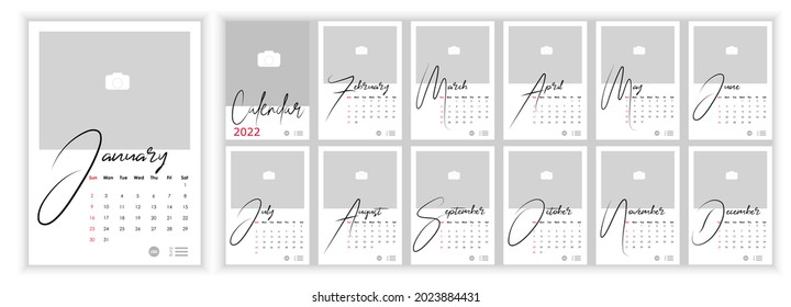 Wall Monthly Photo Calendar 2022. Simple monthly vertical photo calendar Layout for 2022 year in English. Cover Calendar, 12 months templates. Week starts from Sunday. Vector illustration