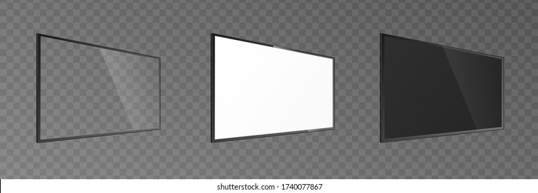 Wall mount TV screen panel mockup set with transparent, white and black glass. Realistic mock up of blank hanging television screens from angled side view, isolated vector illustration.
