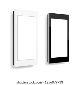 Wall mounted computer kiosks isolated on white background. Vector illustration