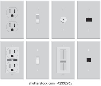 Wall mounted US electrical plates. Standard & GFCI plug, switch, on, off, cable TV, dimmer, Ethernet network, business phone, residential phone. Created in pure gray scale for economical printing.