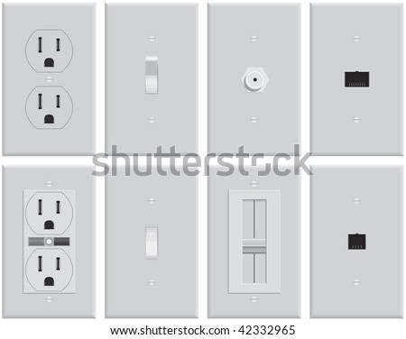 Wall Mounted Us Electrical Plates Standard Stock Vector Royalty