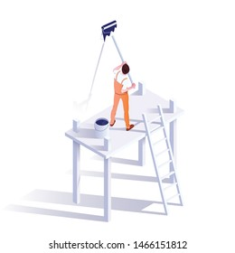 Wall painter isometric vector illustration. Professional decorator in uniform cartoon character. Craftsman standing on scaffolding, holding paint roller. Handyman occupation, renovating service