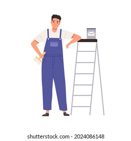 Wall painter standing with paint bucket and brush. Happy worker holding paintbrush and leaning on ladder. Portrait of repairman at stepladder. Flat vector illustration isolated on white background