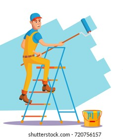 Wall Painter Vector. Worker At Work. Painting Wall. Isolated Flat Cartoon Character Illustration